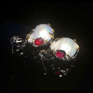 Rare Natural Large Baroque Pearl Ruby Earrings